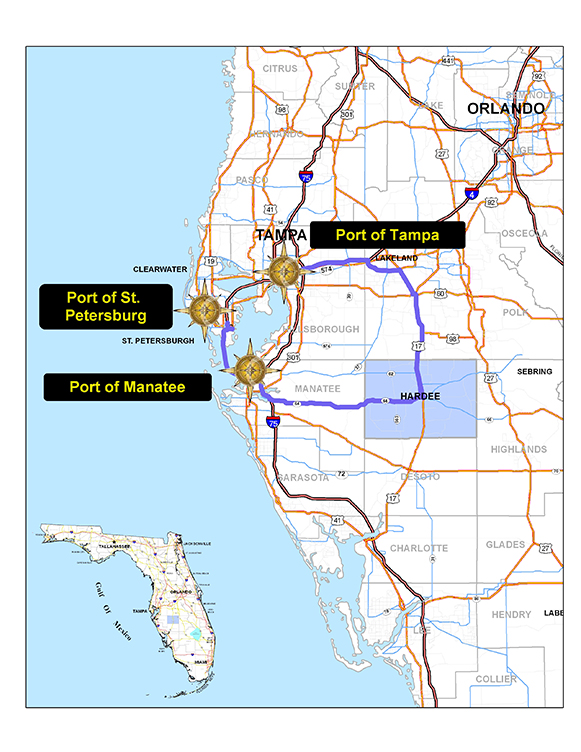 map of Ports in the Hardee County area