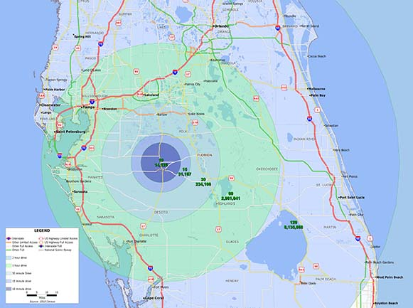 Population Map of Hardee County and southern Florida