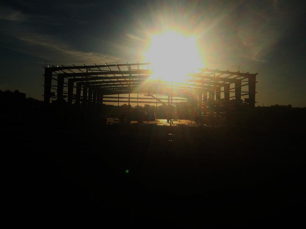 Sun rising over construction of Hardee County Commerce Park